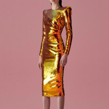 Dress / evening wear Wedding, adulthood, party, company annual meeting, performance, routine, appointment XXL,XXXL,XS,S,M,L,XL,XM golden grace longuette middle-waisted Spring 2020 Short buttocks zipper Sequins 26-35 years old Ax - double shoulder GOLD SEQUIN skirt Long sleeves 96% and above