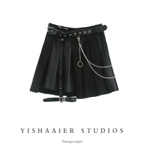 skirt Spring 2021 S,M,L Black, white Short skirt commute Natural waist A-line skirt Solid color Type A Y03S9142 Chain, strap Retro