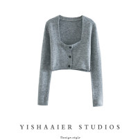 short coat Spring 2021 S,M,L grey Long sleeves have cash less than that is registered in the accounts routine Straight cylinder commute routine square neck Single breasted Solid color Button Y03S3104 other