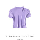 T-shirt Blue, black, purple, white S, M Summer 2021 Short sleeve Half high collar Self cultivation Regular routine other 51% (inclusive) - 70% (inclusive) Solid color Y03S0109 hole