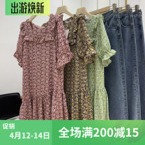 Dress Summer 2020 Green, red, yellow Average size Mid length dress singleton  Short sleeve Sweet square neck Loose waist Broken flowers Socket Ruffle Skirt pagoda sleeve Others Type H A-22(20005) 81% (inclusive) - 90% (inclusive) Chiffon Countryside