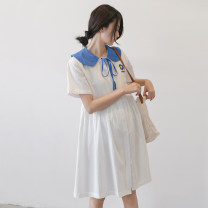 Dress Seaporey / cypress [white] white M L XL XXL Korean version Short sleeve Medium length summer Lapel