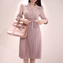Dress Spring of 2019 Pink S,M,L,XL longuette singleton  three quarter sleeve commute High waist Solid color other Pleated skirt routine Type X Other / other Korean version Vinylon