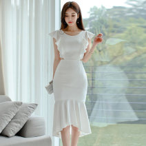 Dress Summer 2020 white S,M,L,XL Middle-skirt singleton  Sleeveless commute Crew neck High waist Others 18-24 years old Type X Korean version