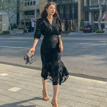 Dress Spring 2020 black S,M,L,XL Short skirt singleton  elbow sleeve commute V-neck High waist Solid color zipper other routine Others 25-29 years old Type X Ol style 31% (inclusive) - 50% (inclusive) Chiffon polyester fiber