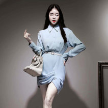 Dress Spring 2020 blue S,M,L,XL Short skirt singleton  Long sleeves commute Polo collar High waist Solid color zipper Type X Other / other Korean version