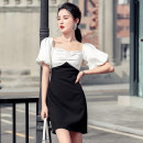 Dress Summer 2021 Black and white contrast S,M,L,XL Short skirt singleton  Short sleeve commute V-neck High waist Solid color zipper One pace skirt bishop sleeve Others Type H Korean version Splicing, three-dimensional decoration