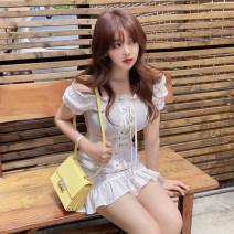 Dress Summer 2020 white S,M,L,XL singleton  commute High waist Solid color zipper Princess Dress Type X Other / other Korean version