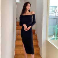 Dress Spring 2021 black S,M,L,XL longuette singleton  Long sleeves commute One word collar middle-waisted Solid color Socket One pace skirt routine Korean version 81% (inclusive) - 90% (inclusive) knitting cotton