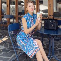 Dress Summer of 2019 blue S,M,L,XL Miniskirt singleton  Sleeveless commute stand collar middle-waisted other Single breasted other Others Other / other Korean version 31% (inclusive) - 50% (inclusive) brocade nylon