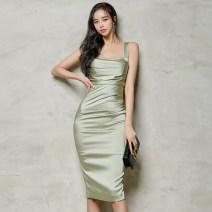 Dress Summer 2021 Light Avocado Green S,M,L,XL Middle-skirt singleton  Sleeveless commute High waist Solid color zipper Pencil skirt camisole Type X Korean version