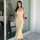 Dress Summer 2021 Yellow, bean purple S,M,L,XL Miniskirt singleton  commute High waist Socket Ruffle Skirt camisole Type X Korean version