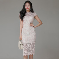 Dress Summer 2021 Light pink S,M,L,XL Miniskirt singleton  Short sleeve commute stand collar middle-waisted Solid color Socket One pace skirt other Others Korean version 81% (inclusive) - 90% (inclusive) Lace nylon