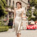 Dress Summer 2020 Champagne, Avocado Green S,M,L,XL Miniskirt singleton  Sleeveless commute One word collar High waist Solid color Socket A-line skirt camisole Type A Korean version