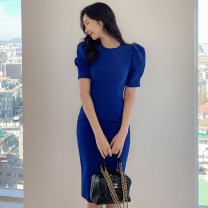 Dress Spring 2021 blue S,M,L,XL Miniskirt singleton  Short sleeve commute Crew neck middle-waisted Solid color Socket One pace skirt routine Others Korean version zipper 81% (inclusive) - 90% (inclusive) brocade nylon