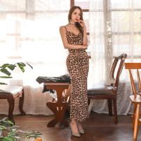 Dress Spring 2021 Leopard Print S,M,L,XL Miniskirt singleton  Sleeveless commute High waist Leopard Print zipper Pencil skirt camisole Type X Korean version