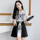 Dress Summer 2021 Black and white (suit) S,M,L,XL Miniskirt Two piece set Long sleeves commute Polo collar middle-waisted other Single breasted other shirt sleeve Others Korean version 81% (inclusive) - 90% (inclusive) brocade other