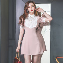 Dress Summer 2020 Pink S,M,L,XL Middle-skirt singleton  commute Polo collar High waist Solid color zipper Pencil skirt Type X Other / other Korean version