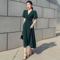 Dress Summer 2021 Malachite green, rouge powder S,M,L,XL longuette singleton  Short sleeve commute V-neck Solid color zipper Breast wrapping Type A Korean version Bows, ruffles, hollows