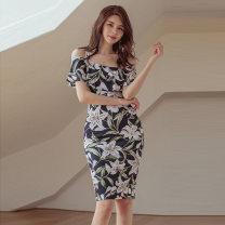 Dress Summer 2020 black S,M,L,XL Short skirt singleton  commute High waist zipper Pencil skirt camisole Type X Other / other Korean version