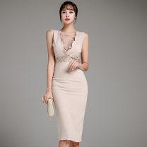 Dress Summer 2021 Picture color S,M,L,XL Middle-skirt singleton  commute V-neck High waist Solid color zipper Pencil skirt Type X Korean version