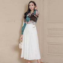 Dress Autumn 2020 Picture color (suit) S,M,L,XL Miniskirt Two piece set Long sleeves commute Polo collar middle-waisted other other Big swing shirt sleeve Others Korean version 81% (inclusive) - 90% (inclusive) brocade nylon