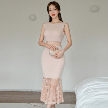 Dress Summer 2021 Light pink S,M,L,XL Mid length dress Sleeveless middle-waisted 18-24 years old 31% (inclusive) - 50% (inclusive)