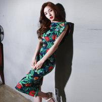 Dress Summer of 2018 Decor S,M,L,XL,2XL singleton  commute Crew neck High waist zipper 25-29 years old Type H Other / other Korean version zipper
