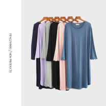 Nightdress Other / other Simplicity Middle sleeve Leisure home Middle-skirt summer Solid color youth Crew neck other lace More than 95% Modal fabric
