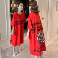 Dress Summer 2021 gules Mid length dress singleton  Short sleeve commute Crew neck Loose waist Cartoon animation Socket A-line skirt routine Others 18-24 years old Type H Ocnltiy Korean version Thread, printing More than 95% knitting cotton