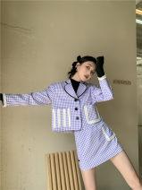 Fashion suit Spring 2021 S, M Purple Plaid suit, Purple Plaid Skirt 18-25 years old polyester fiber