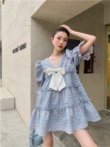 Dress Spring 2021 blue S,M,L,XL Middle-skirt singleton  Long sleeves commute Crew neck Loose waist Solid color zipper Pleated skirt 18-24 years old Type A Other / other Korean version 31% (inclusive) - 50% (inclusive)