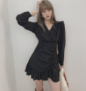 Dress Spring 2021 Black spot, white spot S,M,L Short skirt singleton  Long sleeves commute V-neck High waist Solid color One pace skirt routine Others Type A Ruffles, pleats, folds, asymmetry, printing 91% (inclusive) - 95% (inclusive) polyester fiber
