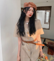 Dress Summer 2021 With the belt khaki, with the belt rose pink S,M,L Short skirt singleton  Short sleeve commute tailored collar High waist Solid color Single breasted A-line skirt routine Others Type A Other / other Pocket, button 51% (inclusive) - 70% (inclusive) other