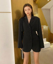suit Spring 2021 Black spot S,M,L Long sleeves Medium length Self cultivation tailored collar Single breasted street routine Solid color 71% (inclusive) - 80% (inclusive) polyester fiber Hollowing out