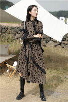Dress Winter 2020 khaki XS,S,M longuette singleton  Long sleeves commute stand collar High waist Dot Socket A-line skirt routine Others 25-29 years old Type A printing polyester fiber