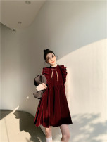 Dress Spring 2021 Red velvet S, M Middle-skirt singleton  Long sleeves Sweet Crew neck High waist Solid color other A-line skirt Others 18-24 years old Type A Bow, Ruffle other polyester fiber Lolita