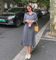Dress Autumn 2020 grey S,M,L longuette singleton  Long sleeves commute Polo collar High waist Solid color A-line skirt routine 18-24 years old Type A polyester fiber