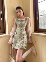 Dress Winter 2020 Camel blue XS,S,M,L Short skirt singleton  Long sleeves commute square neck High waist Decor A-line skirt routine Type A Splicing polyester fiber