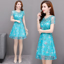 Dress Summer 2021 M,L,XL,2XL,3XL,4XL Mid length dress singleton  Short sleeve commute middle-waisted Decor zipper A-line skirt routine Type A Korean version