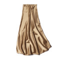 skirt Summer 2020 Average size Golden champagne Mid length dress commute Natural waist skirt Solid color 91% (inclusive) - 95% (inclusive) Silk and satin silk