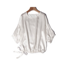shirt white , Elastic champagne The length is about 60cm and the chest circumference is about 120cm Spring 2021 silk 96% and above elbow sleeve commute Regular Crew neck Socket bishop sleeve Solid color Frenulum silk