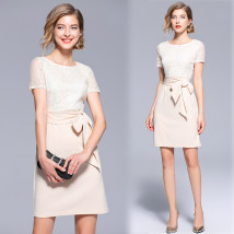 Dress Summer of 2018 Apricot S M L XL 2XL Middle-skirt singleton  Short sleeve commute Crew neck middle-waisted Solid color Socket One pace skirt Lace