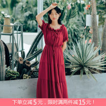 Dress Summer 2021 White, red S,M,L longuette singleton  Short sleeve Sweet Elastic waist Socket Cake skirt Others 18-24 years old Type A Bow tie, Auricularia auricula 71% (inclusive) - 80% (inclusive) Chiffon Mori