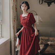 Dress Summer 2021 Red, black S,M,L Mid length dress singleton  Short sleeve commute square neck High waist Solid color Socket A-line skirt routine Others 18-24 years old Type A literature bow , fungus , Frenulum , Button 81% (inclusive) - 90% (inclusive) brocade cotton