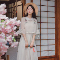 Dress Summer 2021 Apricot, purple pink, bean green S,M,L Mid length dress Two piece set Short sleeve commute stand collar High waist Solid color Socket A-line skirt pagoda sleeve Others 18-24 years old Type A Retro Bowknot, embroidery, gauze 71% (inclusive) - 80% (inclusive) Chiffon cotton