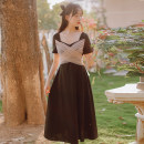 Dress Summer 2021 black S,M,L,XL Mid length dress singleton  Long sleeves commute square neck High waist Solid color Socket other routine Others 18-24 years old Type A literature Bows, bandages, gauze 71% (inclusive) - 80% (inclusive) brocade cotton