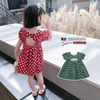 Dress Green red female Geyoupailang 90cm 100cm 110cm 120cm 130cm 140cm Other 100% summer Korean version Short sleeve Dot other A-line skirt GYXP2522-1 Class B Summer 2021 18 months, 2 years old, 3 years old, 4 years old, 5 years old, 6 years old, 7 years old, 8 years old