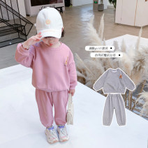 suit Geyoupailang Pink grey 90cm 100cm 110cm 120cm 130cm 140cm female spring and autumn Sweet Long sleeve + pants 2 pieces routine There are models in the real shooting Socket nothing Cartoon animation other children Giving presents at school GYXP2437-1 Class B Other 100% Spring 2021