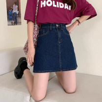 skirt Spring 2021 S,M,L,XL,2XL,3XL,4XL,5XL Short skirt commute High waist A-line skirt Solid color Type A 18-24 years old 71% (inclusive) - 80% (inclusive) Denim cotton pocket Korean version
